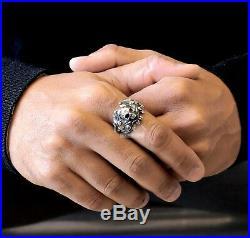 Vintage skull 925 Sterling Silver Mens biker Rider Wedding Engagement Ring