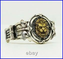 Vintage two tone lion 925 Sterling Silver Men's biker rider Ring birthday gift