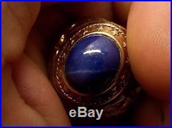Vtg 10K Gold Eagle Star Sapphire Ring Sz 9 Heavy Signet Chunky Biker Huge Mens