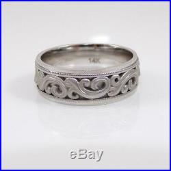 Vtg 14K White Gold Ring Artcarved Scroll Ivy Groom Man's Wedding Band Sz 9 LFK2