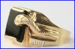 Vtg 1950's Italian 14k Gold Black Onyx Snake Ring Size 10.5
