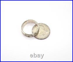 Vtg Art Carved Eternity Men's Wedding Band 14K White Gold Ring Sz 9.5 LJC2
