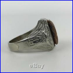 Vtg BIG 10k Antique Intaglio Diamond Tigers Eye Roman Warrior Mens Ring Sz 11