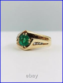 Vtg Estate 14k Yellow Gold 1.16ct Natural Columbian Emerald & Diamond Men's Ring