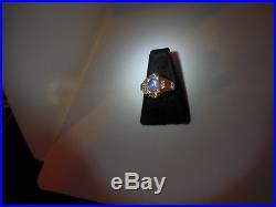 Vtg Estate Art Deco Genuine Blue Star Sapphire 9 Kt Yellow Gold Mens Ring Size 8