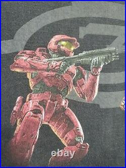 Vtg Halo 3 Shirt 2007 Y2K Video Game Graphic Tee Red Blue Spartan Xbox Promo XL