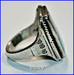 Vtg Men's NAVAJO Sterling Silver Inlaid TURQUOISE TIGER'S EYE Ring Sz 11