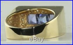 Vtg Mens 14k Gold 2 Carat Diamond Tanzanite Ring