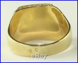 Vtg Mens 18k Gold Malachite Signet Ring Size 10