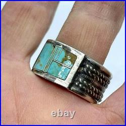 Vtg Navajo Kingman Inlay Turquoise Men's Ring Band Sz 13 Sterling 1/2 18.1g