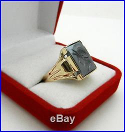 Vtg Roman Soldier Warrior Hematite Cameo 10k Yellow Gold Men's Signet Ring 6.6gr