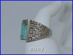 Vtg Signed Native American Sterling Turquoise Ring Men's Size 12 Navajo 14.68g