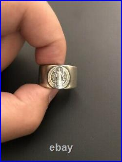 Vtg St Benedict Sterling Silver 925 handcrafted mens coin ring Sz 10.5