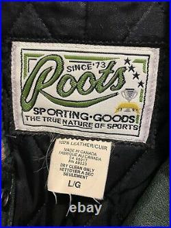 Vtg Vintage Roots Canada Halo Ha-lo 100% Leather Varsity Bomber Jacket Coatl