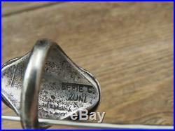 Vtg Zuni EFFIE CALAVAZA Sterling Silver Turquoise Double Snake Men's Ring Sz 12