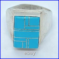 Vtg Zuni Inlay Sleeping Beauty Turquoise Men's Ring Sz11 Sterling Signed 12g