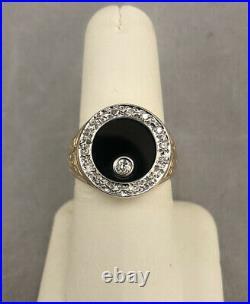 WOW VINTAGE 1980s MENS GUIDO SPINNING. 30ct DIAMOND & BLACK ONYX RING